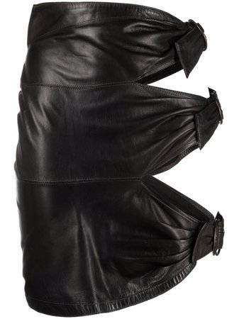 Alaïa Pre-Owned 1980s Buckled Sides Leather Skirt - Farfetch