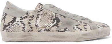 Superstar Distressed Snake-effect Leather And Suede Sneakers - Snake print