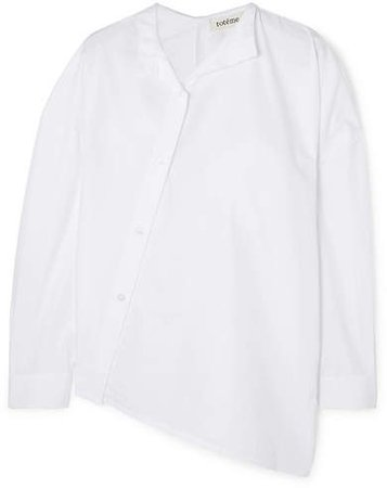 Noma Asymmetric Cotton-poplin Shirt - White