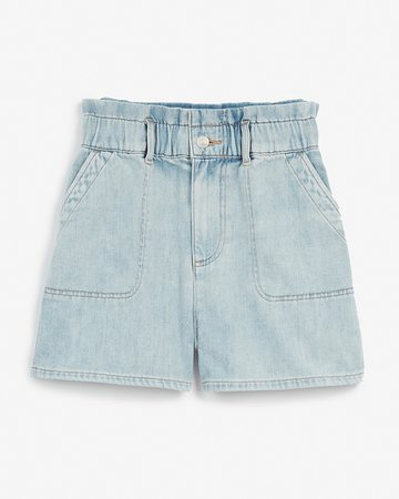Super High Waisted Cinched Paperbag Jean Shorts | Express