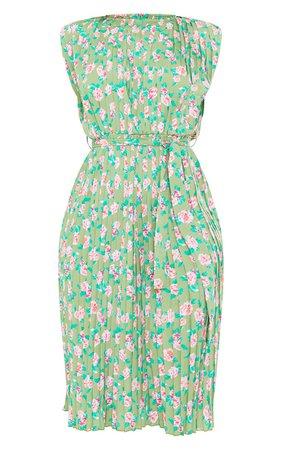 White Polka Dot Pleated Sleeveless Midi Dress | PrettyLittleThing USA
