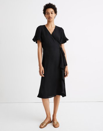 Ruffle-Sleeve Wrap Dress