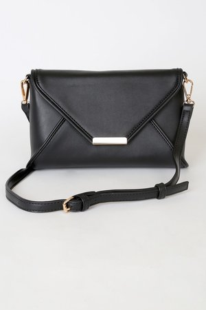 Black Envelope Clutch - Vegan Leather Clutch - Structured Clutch - Lulus