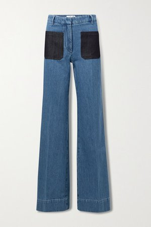 High-rise Wide-leg Jeans - Mid denim
