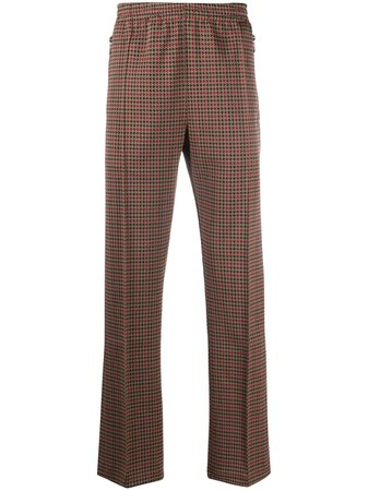 Brown & red Needles straight-leg houndstooth trousersfor men -Farfetch