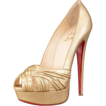 Gold Open Toe Platform Heels