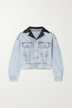 Cropped Satin-trimmed Denim Jacket - Light denim