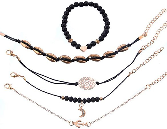 Amazon.com: Natural Link Chain Bracelet Set Heart Handmade Boho Resin Adjustable Rope Bracelet for Unisex,Pendant Bracelet Five-Piece: Clothing