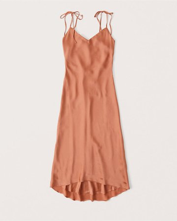 Women's Tie-Back Satin Midi Dress | Women's New Arrivals | Abercrombie.com