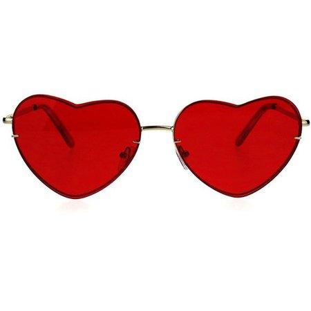 Womens Luxury Rimless Flat Panel Valentine Heart Sunglasses