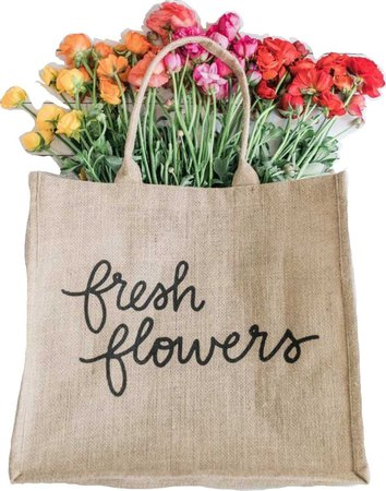 canvas bag with flowers