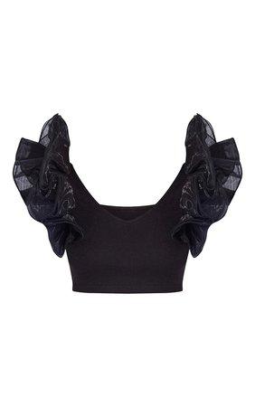 Petite Black Ruffle Shoulder Blouse | PrettyLittleThing