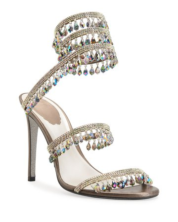 Rene Caovilla Chandelier Snake Beaded Leather Crystal Ankle-Wrap Sandals | Neiman Marcus