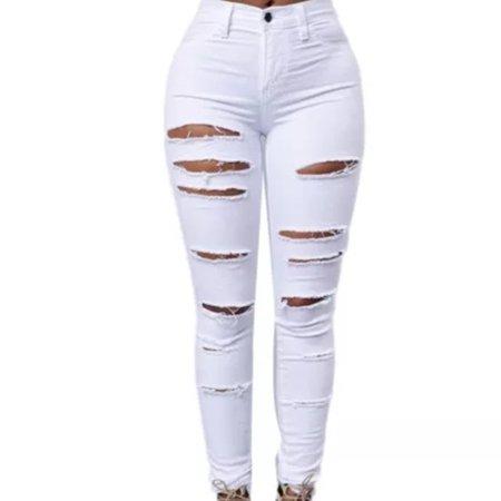 Denim 24/7 Pants & Jumpsuits | White Ripped Skinny Jeans | Poshmark