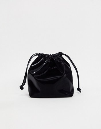 Bershka vinyl backpack in black | ASOS