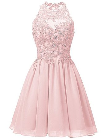 Broybuy Women's Short A-line Crew Neck Bead Embroidery Applique Chiffon Cocktail Dresses - pink, size: 36: Amazon.de: Bekleidung