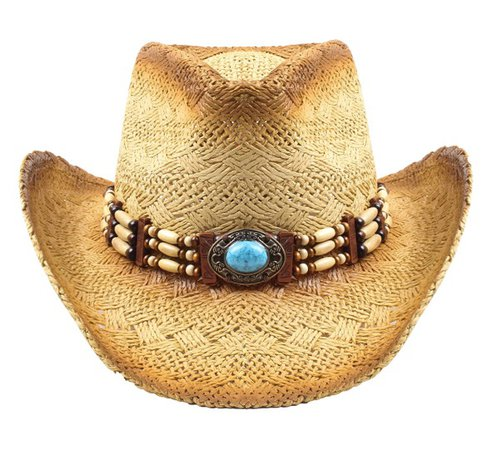 Livingston Straw Cowboy Hat w/turquoise and beaded band