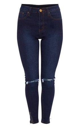 Dark Wash Knee Rip High Waisted Skinny Jean | PrettyLittleThing