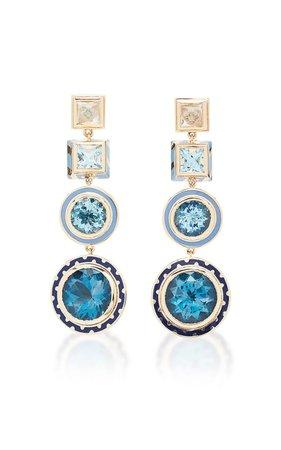 Candy Lacquer Blue Chandelier Earrings by Alice Cicolini | Moda Operandi