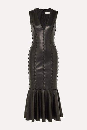 Knot-detailed Leather Midi Dress - Black