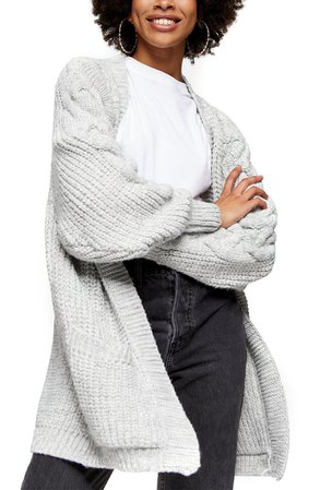 Topshop Cable Sleeve Cardigan | Nordstrom