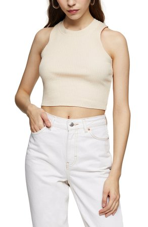 Topshop Wide Rib Racerback Cotton Blend Crop Tank Top | Nordstrom