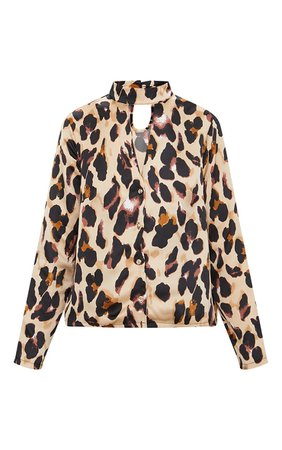 Tan Silky Leopard Print Choker Detail Blouse   PrettyLittleThing