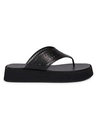 Alaïa Perforated Leather Platform Thong Sandals | SaksFifthAvenue