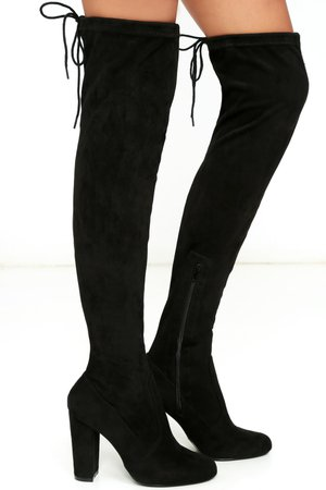 Chic Black Suede Boots - Black Over the Knee Boots - OTK Boots