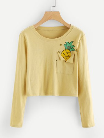 Pineapple Print Ripped Pocket Crop Tee