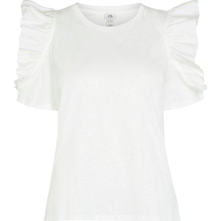 White frill shoulder t-shirt   River Island