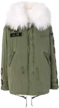 As65 fur-lined embroidered parka