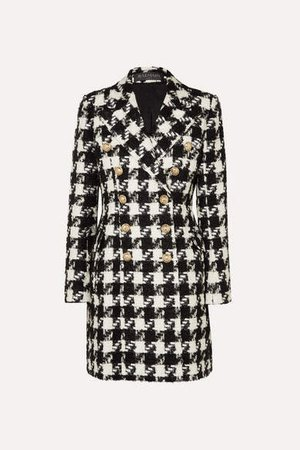 Double-breasted Houndstooth Tweed Coat - Black