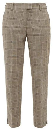 Cefinn - Slit Hem Prince Of Wales Check Tapered Trousers - Womens - Brown Multi