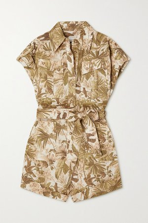 Brighton Belted Printed Linen Playsuit - Army green