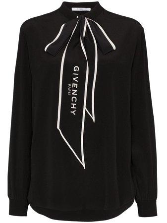 Black Givenchy Logo-Print Pussy-Bow Blouse   Farfetch.com