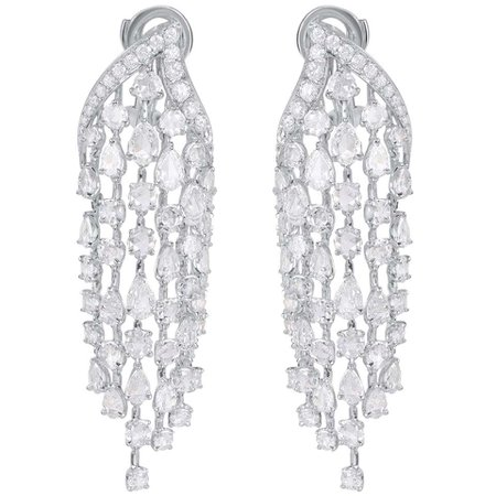 Harakh 18 Kt Cascade Rose Cut and Brilliant Colorless Diamond Dangling Earrings For Sale at 1stDibs