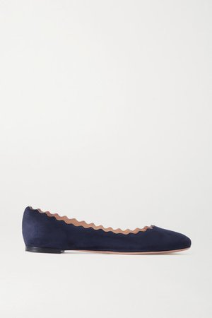 Lauren Scalloped Suede Ballet Flats - Navy