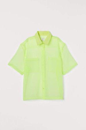 Boxy Organza Shirt - Yellow