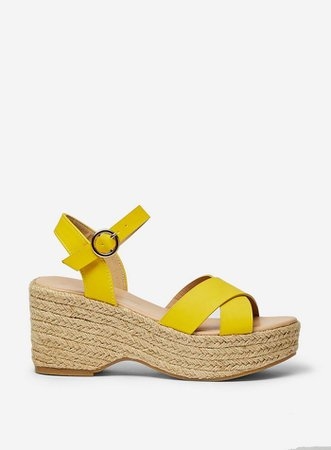Yellow 'Rumba' Flatform Wedge Sandals | Dorothy Perkins