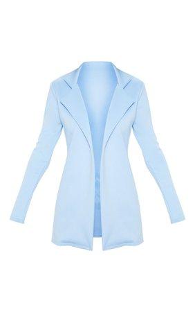 Baby Blue Longline Fitted Blazer | PrettyLittleThing