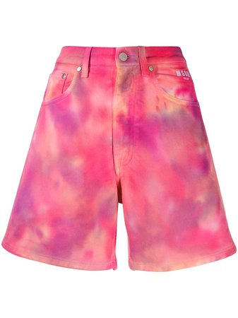 Shop pink MSGM tie-dye denim shorts with Express Delivery - Farfetch