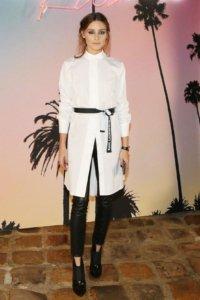 Olivia Palermo wears J Brand Alana Pants, Jimmy Choo Mazzy Boots and Karl Lagerfeld Pleated Panel Shirt