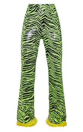 Lime Zebra Sequin Faux Fur Trim Flare Trousers   PrettyLittleThing USA