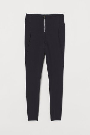 Zip-front Shaping Leggings - Black