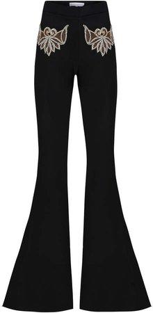 Raisa Vanessa Embroidered Flared Velvet Pants