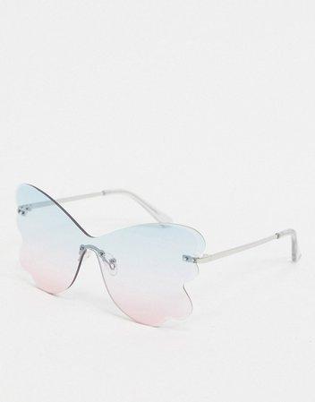 ASOS DESIGN butterfly sunglasses in ocean lens | ASOS