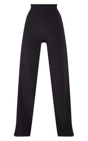 Black Slinky Detail Wide Leg Trouser | PrettyLittleThing