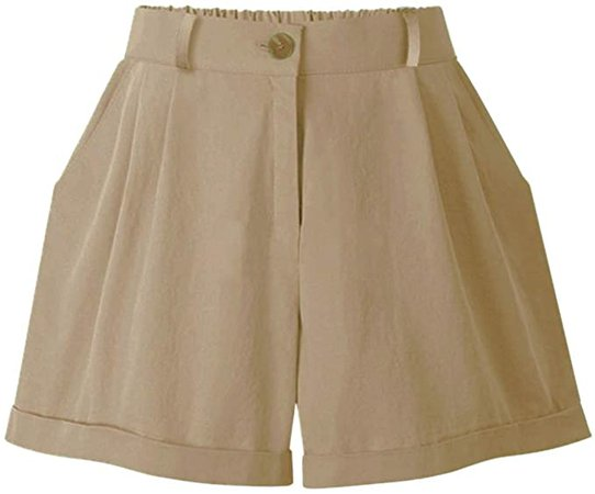 HOW'ON Women's Summer Cotton Elastic Waist Curling Shorts Khaki