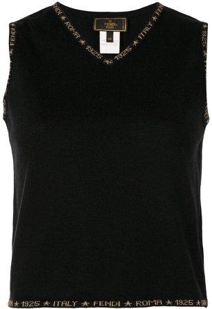 Pre Owned logo V-neck sleeveless top